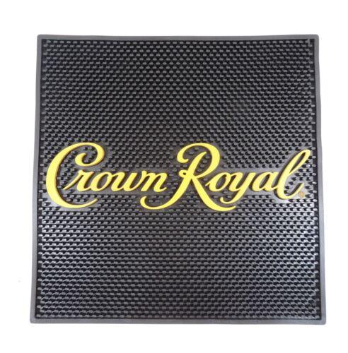 "Crown Royal Bar Spill Mat Rubber Waitstation Black Gold Letters Large 16 1//2/"" Sq"