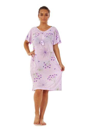 Ladies Fennel Floral Nightdress 100/% Cotton Short Sleeve Soft Nightwear M to 3XL