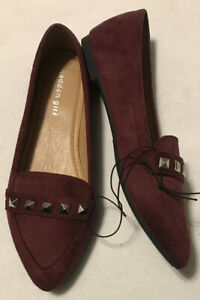Madden Girl Women's Pointed Toe Flat Shoes, Size 9, Faux Suede, Burgundy, NEW
