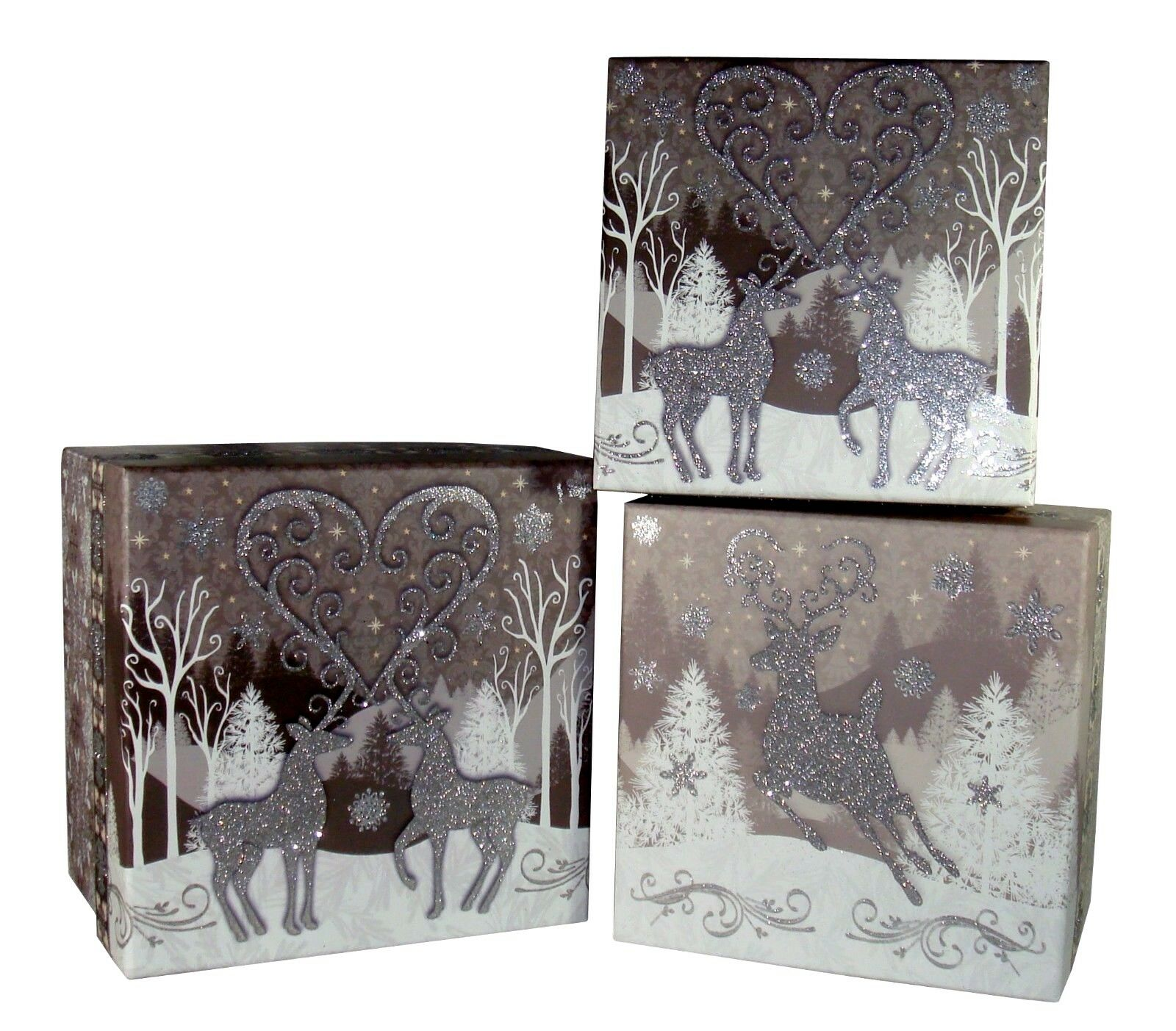 3 Pooch & Sweetheart Christmas Boxes Reindeer Heart Box 80918 Punch Studio
