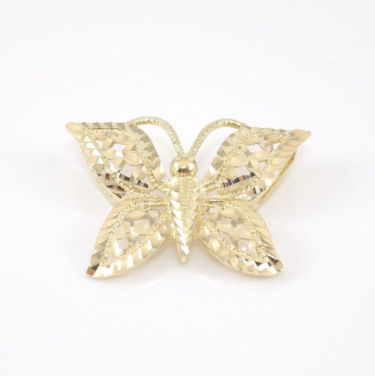 14K Yellow gold Diamond Cut Butterfly Slide Pendant