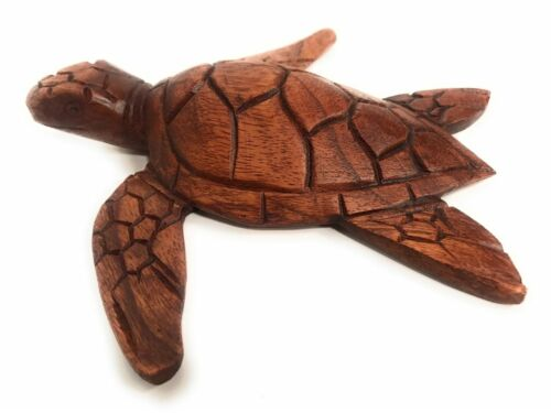 """Carved Hawaiian Sea Turtle Honu 8/"""" Stained Hand Carved#raw0420"""
