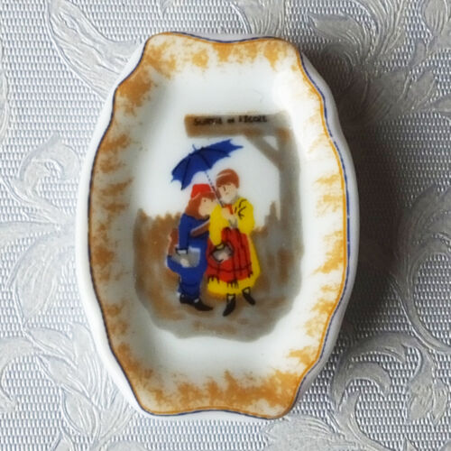 people under umbrella Dolls house miniatures oval porcelain plate from France
