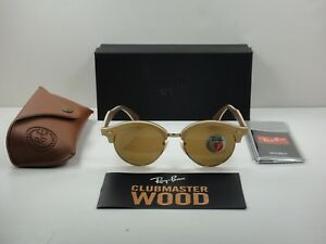 1c803fdced Image is loading RAY-BAN-CLUBROUND-WOOD-SUNGLASSES-RB4246M-117957-BROWN-