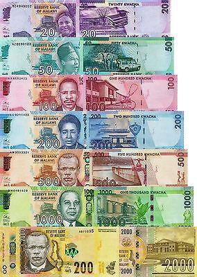 p 69 Malawi 7 Note Set: 20 to 2000 Kwacha 2014-2016 p63 p65-68 UNC p64