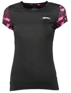 New-Slazenger-Felix-T-Shirt-Top-Ladies-Womens-Gym-Training-Fitness-Running-Black