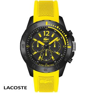 Lacoste-2010739-Fidji-schwarz-gelb-Chronograph-Armband-Uhr-Herren-NEU