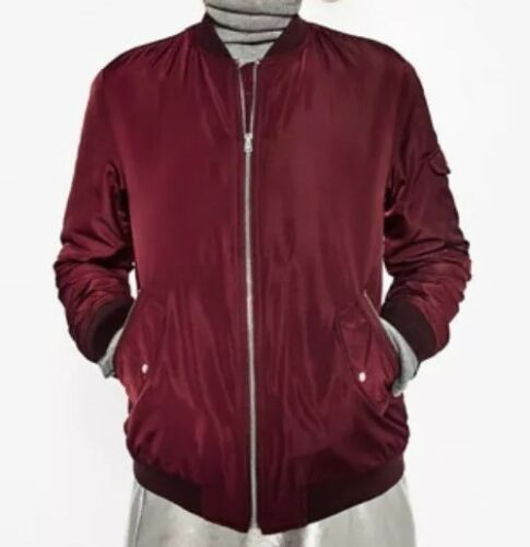Blogger's Zara M Trf Ny Lommer Red Jacket Bomber Medium Favorite Nwt Zip xA0CROqwC