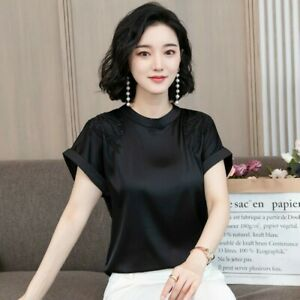 Lady-Saten-Blusa-Camiseta-Sedoso-Seda-Sintetica-Bordado-Floral-Camisa-Holgada-Elegante