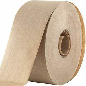 """Water Activated Reinforced Seal Packing Tape, Kraft Brown 2.75"""" x 450 Ft"""
