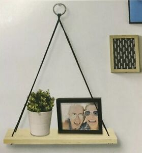 Image Is Loading Decorative Wall Shelf Modern Wood Hanging Rope Shelves