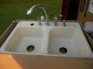 Vintage Cast Iron Porcelain Kohler 5 Hole Farmhouse Kitchen Sink W