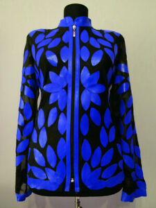 Blue-Leather-Leaf-Jacket-Women-All-Colours-Sizes-Genuine-Zip-Short-Handmade-D2