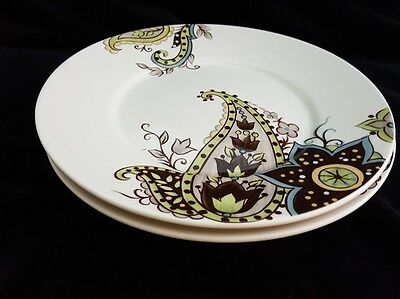 Tabletops Gallery Misto Angela 2 Salad Plates Brown Green Paisley Unlimited