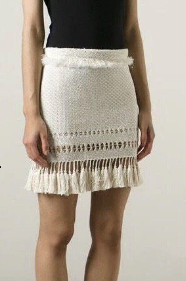 ISABEL MARANT Tifen Ivory Woven Tassel Skirt Size 42 44 - Worn Once