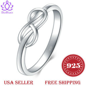 BORUO-925-Sterling-Silver-Ring-Infinity-Comfort-Fit-Wedding-Band-Ring-Size-4-12
