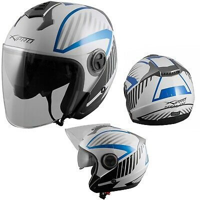Helmet Motorcycle Scooter ECE 22-05 Sun Visor Full Face Graphic A-Pro Blue