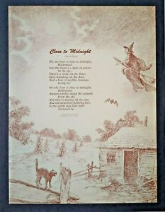 Vintage-Halloween-Poem-Art-Decor-Close-To-Midnight-Marion-Doyle-Witch-Black-Cat