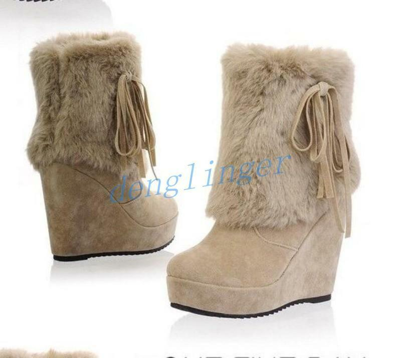 Retro Women's Fur Ankle Boots Wedge High Heel shoes Tessel Suede Casual Gothic