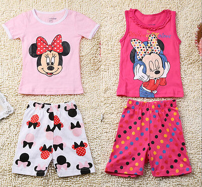 Lovely Minnie Mouse Baby Kids Girls Casual Homewear Suit T-shirt & Pants 2PCS