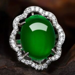 6-Ct-Oval-Green-Emerald-Halo-Ring-Women-Jewelry-Gift-14K-White-Gold-Plated