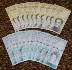 VENEZUELA-10-X-100000-10-X-5000-BOLIVARES-P-NEW-UNC-LOT-20-PCS-Total