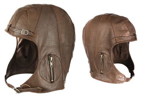 Brown Leather WWII Style Pilots Helmet Military Aviator Head Cover S M//L or L//XL