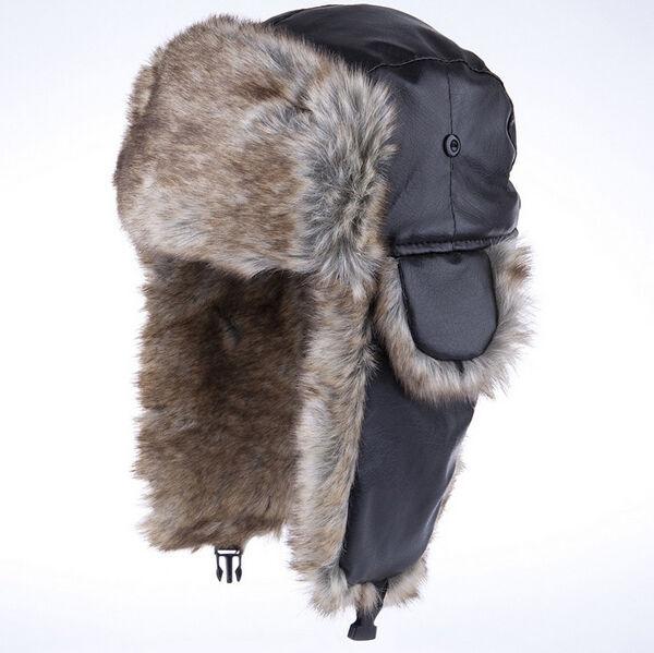 High Light Men Black Canadian Beaver Fur Hat PU Lerther Warm Ushanka Trap HGCA