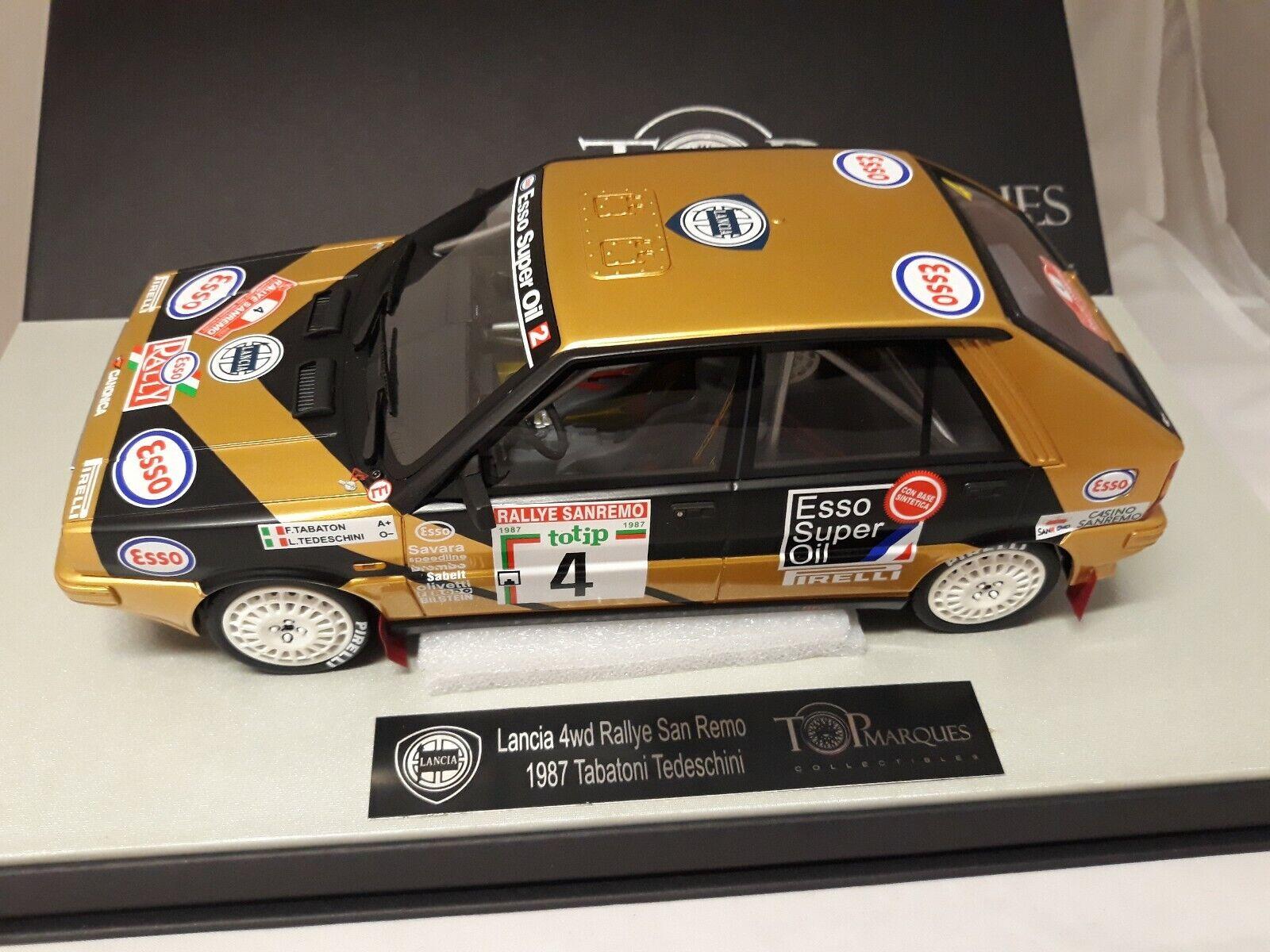 venta directa de fábrica Top Marques Lancia Delta 4WD ESSO  4 Rally Rally Rally San Remo 1987 Tabatoni 1 18  autorización