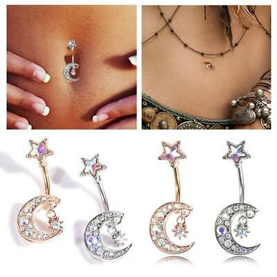 Details about  /Navel Belly Button Rings Bar Crystal Moon Star Dangle Body Piercing JewelO*ss