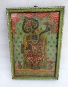 Vintage Old Krishna Incarnation Dwarakanath Bhagwan Press Ravi Varma Print Frame Ebay