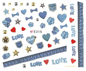 Nail-Art-Sticker-3D-Decals-Transfers-Love-Hearts-Bows-E315