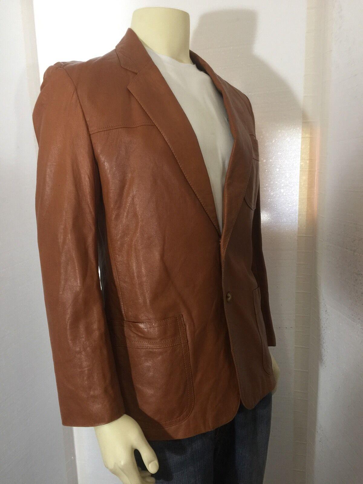 Vintage 1970's Mens Brown Hipster Soft Leather Bl… - image 2