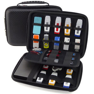 Large Capacity Leather Bag Carrying Case for Mobile Drive,Cards,US<wbr/>B Flash Drives