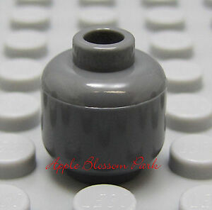 NEW Lego Dark Bluish GRAY MINIFIGURE HEAD Plain/Blank Color Minifig Head