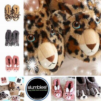 ~❤️~SLUMBIES Furry Critters Flip Sequin Kids Slippers Socks Bunny Leopard Dog~❤️