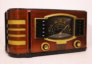 Old-Antique-Wood-Zenith-Vintage-Tube-Radio-Restored-Working-Art-Deco-Black-Dial