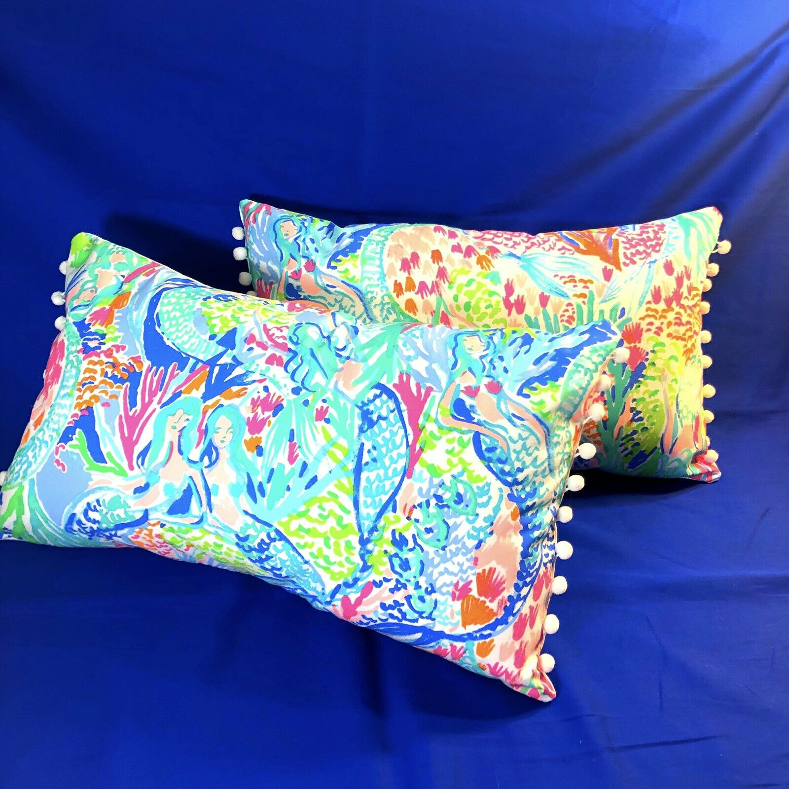 Sale  SET OF 2 New throw pillows made with LILLY PULITZER Mermaid Cove fabric