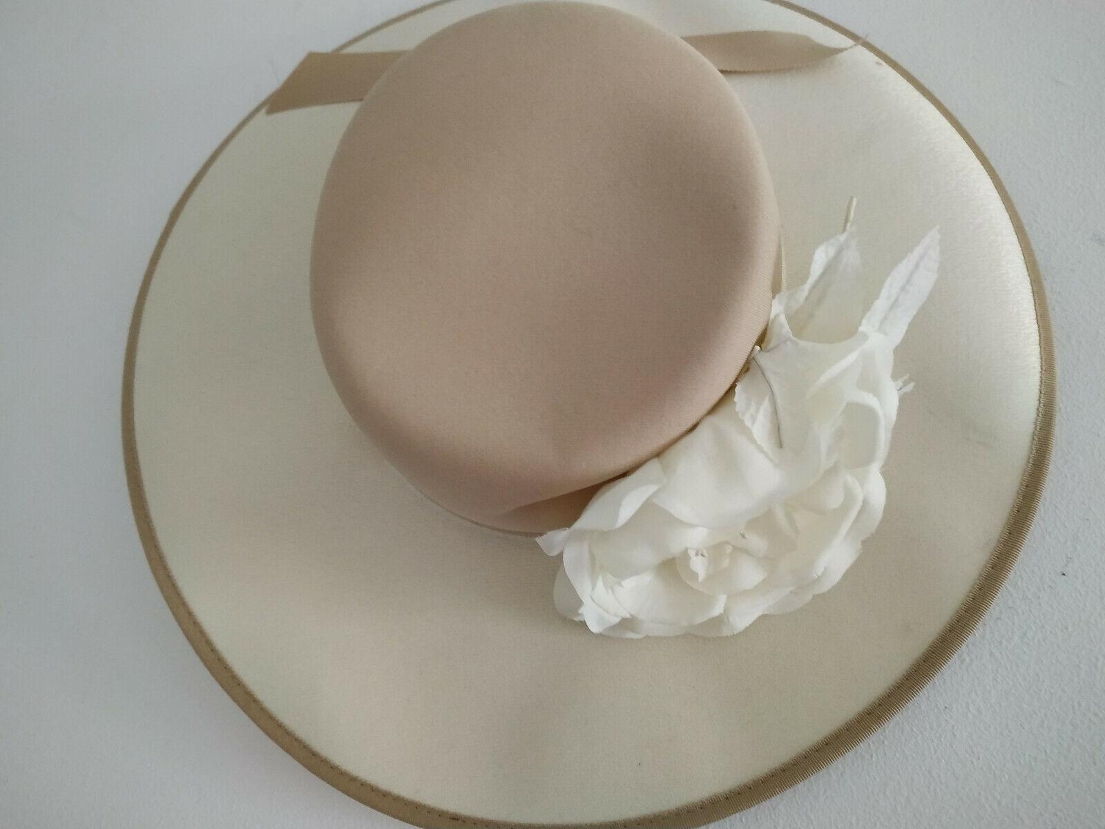 13516)Retro wedding hat w flower on band - Headways by Albert cream/brown