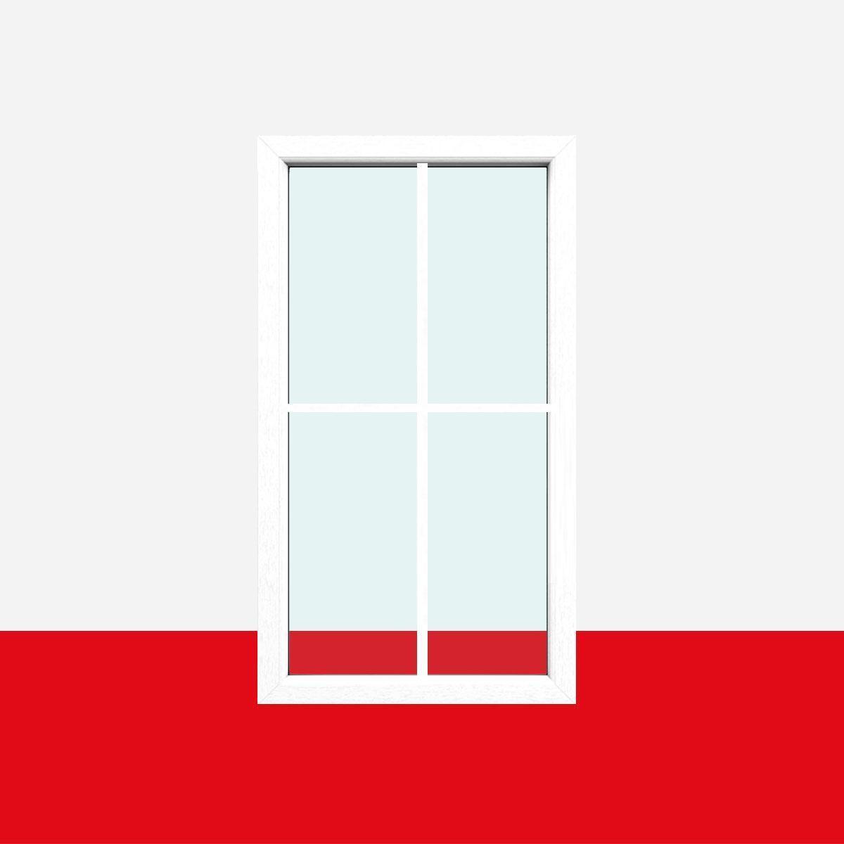 Sprossenfenster Typ 4 Felder Weiß - 1 flg. Festverglasung mit 18mm SZR Sprosse
