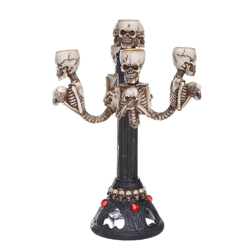 Cráneo de Té Luz Vela titular Gótico Tribal Fiesta Halloween Bar Adornos