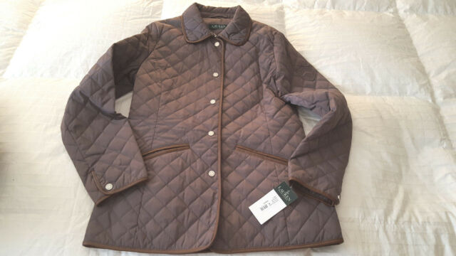 NWT Ralph Lauren Women s Quilted Jacket w  Faux Leather Trim Sz. S Brown   160 68bf46637