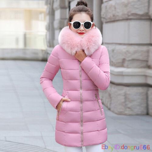 Large size Winter Women/'s Coat zipper Parka Fur Collar Long Quilted Jacket 2018
