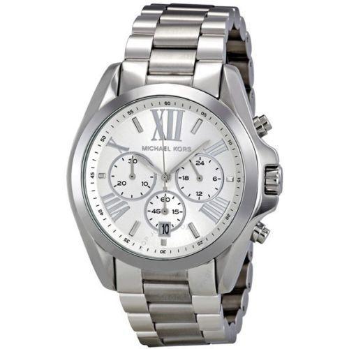 New Michael Kors MK5535 Bradshaw Silver Chronograph Designer Watch - UK Seller