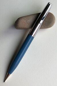 Vintage-Sheaffer-Mechanical-Pencil-Classic-EDC-Chrome-On-Blue-Barrel-Working-USA