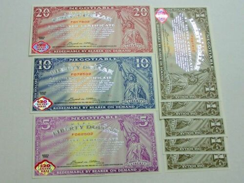 Liberty Dollar Silver Certificates Packet Set of 8 NEW Mint -$20 Base