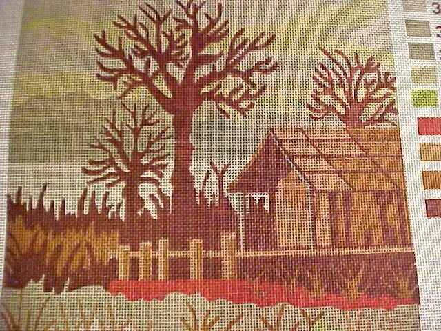 "18/""x24/"" Needlepoint tapestry painted canvas Gobelin D451 Winter Village"