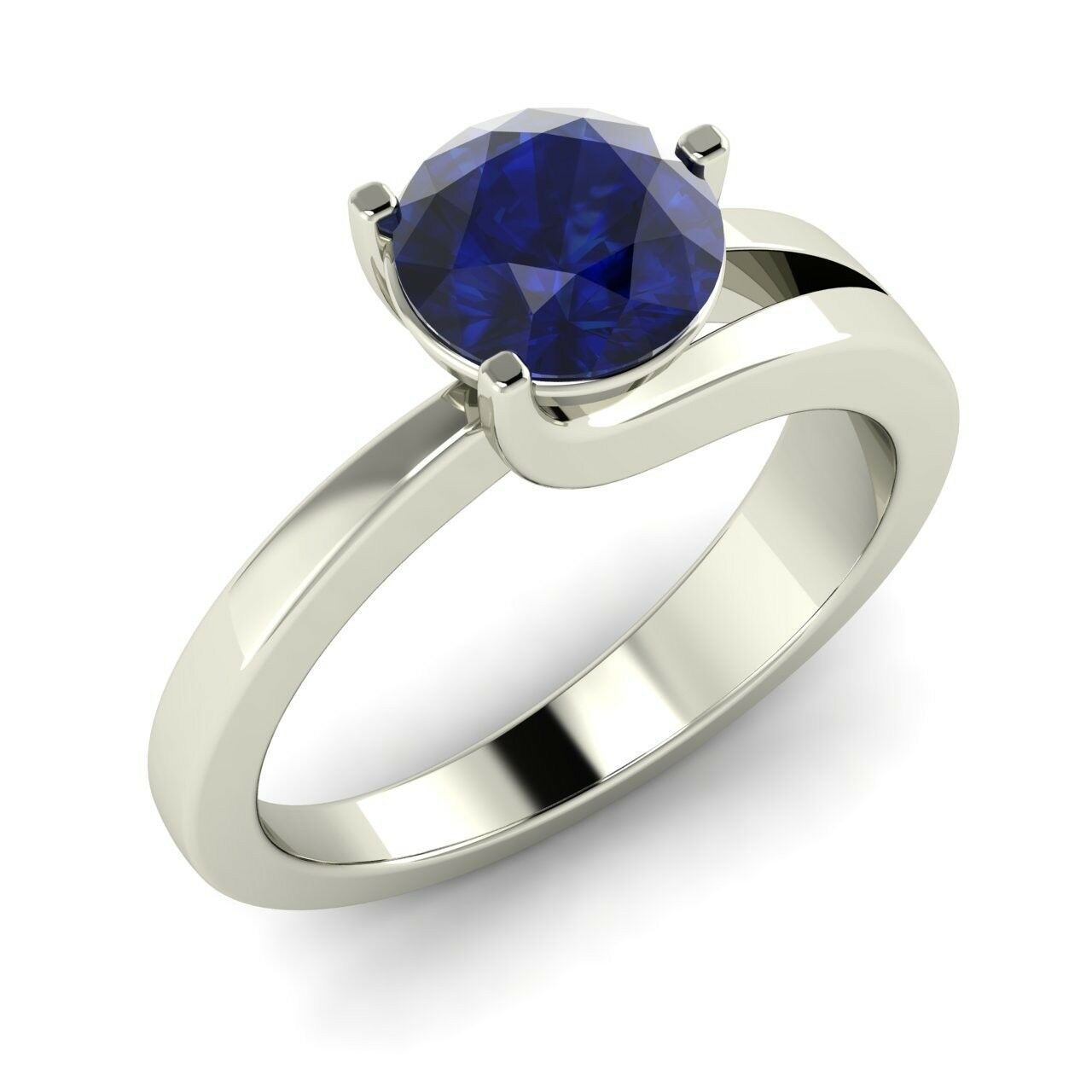 Certified 1.01 Ct Natural bluee Sapphire Solitaire Engagement Ring 14K White gold