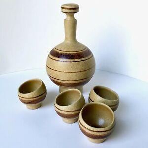 MCM-ROBERT-MAXWELL-POTTERY-CRAFT-Sake-Decanter-Cup-Set