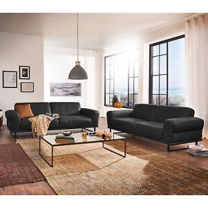 Garnitur Montanaa 2er Sofa In Leder Schwarz Inkl Nosagfederung